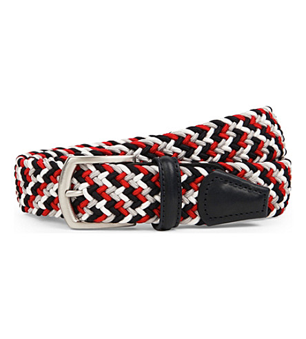 ANDERSONS Woven stretch belt (Red/navy/wht