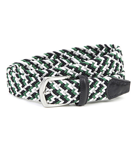 ANDERSONS Woven elastic and leather belt (Green+white+black