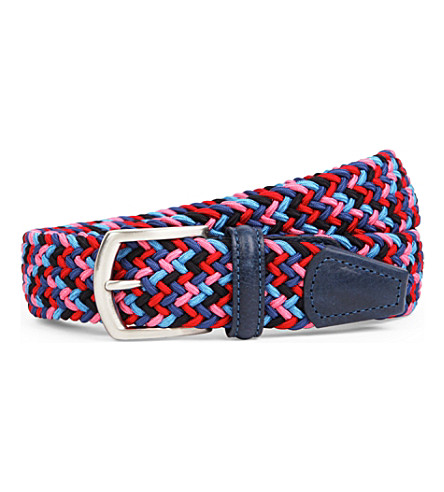 ANDERSONS Woven stretch belt (Blue/pink/red