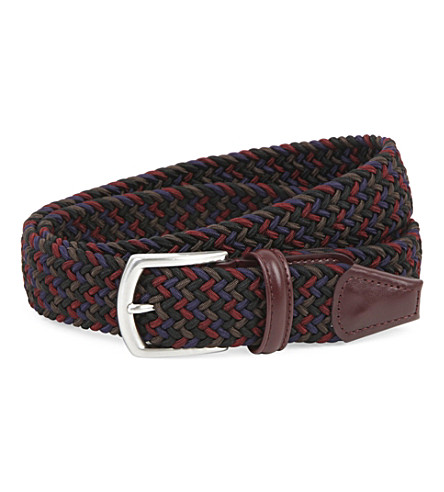ANDERSONS Woven elastic and leather belt (Navy+brown+red