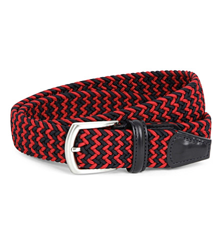 ANDERSONS Multi-woven elasticated belt (Red navy