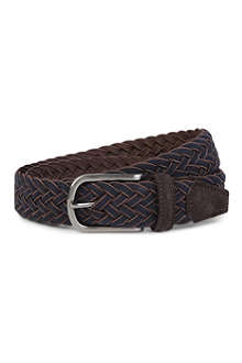 ANDERSONS Wool and leather trim belt