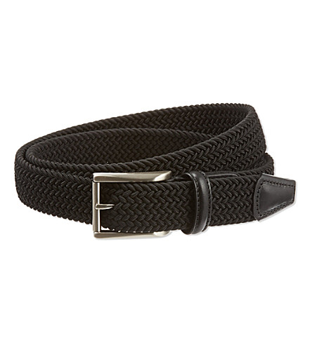 ANDERSONS Plain woven stretch belt (Black