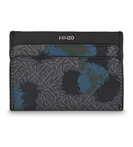KENZO Leopard Flying Kenzo leather card holder (Grey green