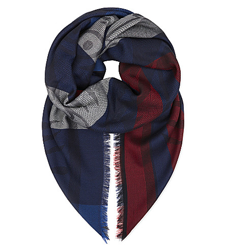 KENZO Striped tiger head scarf (Red blue white