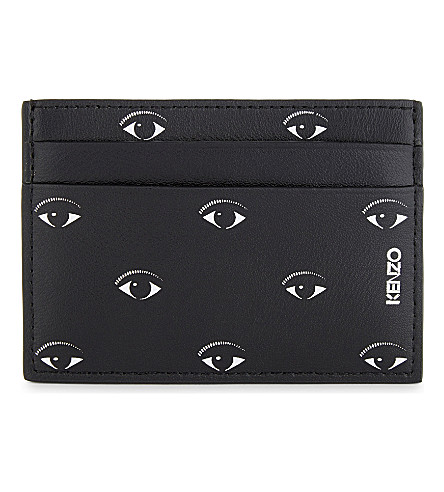 KENZO Grained leather eyes motif card holder (Black