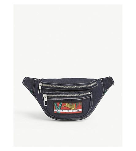 KENZO Logo-print denim bumbag (Navy+blue