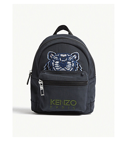KENZO Embroidered tiger mini backpack (Dark+grey