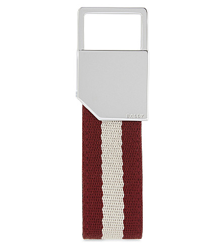 BALLY Striped key holder (Palladium