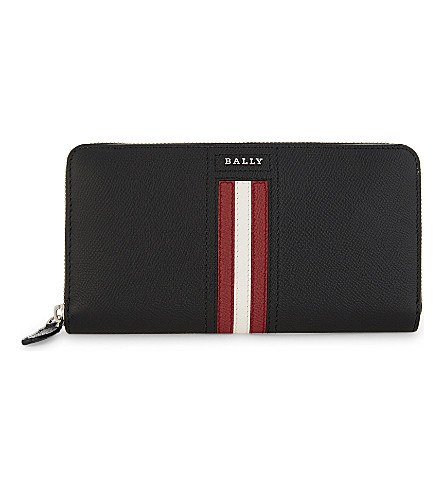 BALLY Telen striped textured leather travel wallet (Black