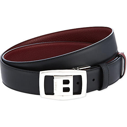 BALLY Reverse buckle leather belt (Black/red