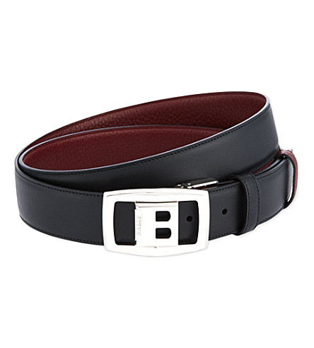 BALLY Reverse buckle leather belt (Black/red