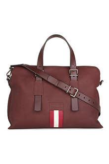 BALLY Striped leather holdall