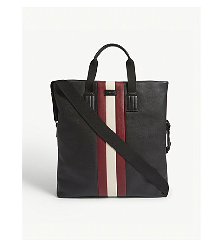 BALLY Blaney leather tote bag (Black+red