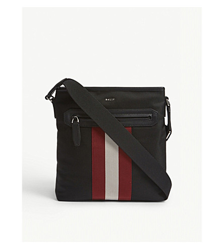 BALLY Currios canvas messenger bag (Black+red