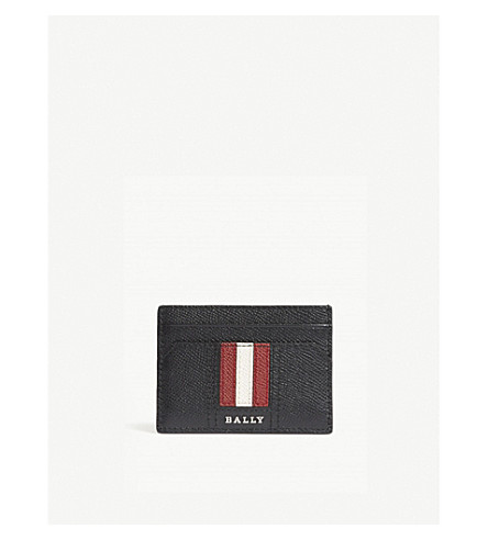 BALLY Thar grained leather card holder (Black+red