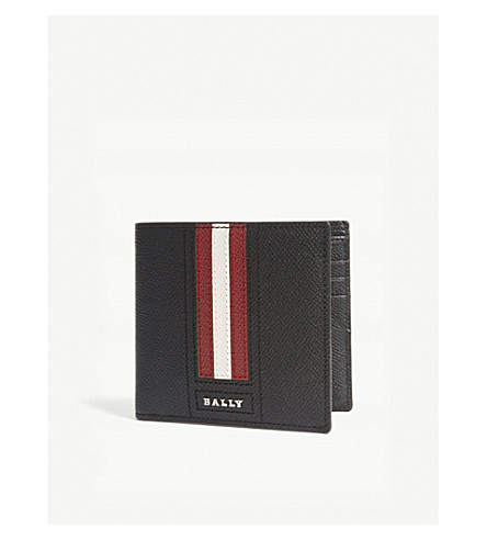 BALLY Striped leather billfold wallet (Black+red