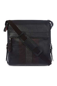 BALLY Perforated leather reporter bag
