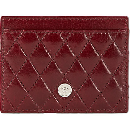 GTO Quilted leather card case (Red