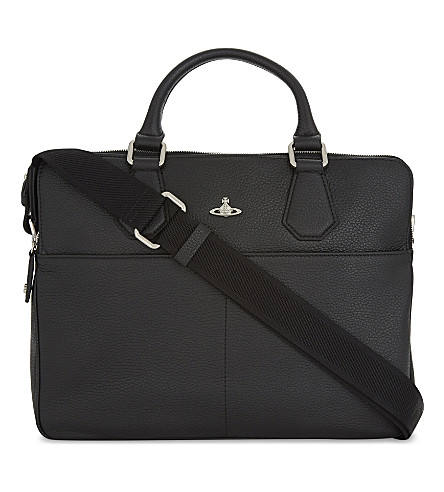 VIVIENNE WESTWOOD Milano leather computer bag (Black