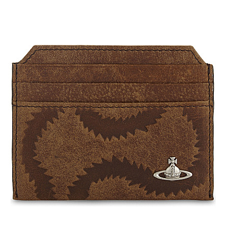VIVIENNE WESTWOOD Belfast squiggle leather card holder (Tan
