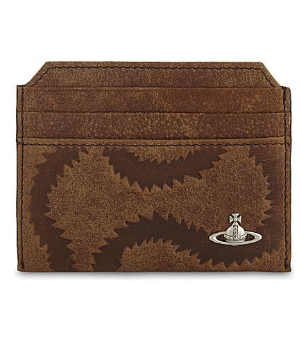 VIVIENNE WESTWOOD Belfast squiggle leather card holder (Tan