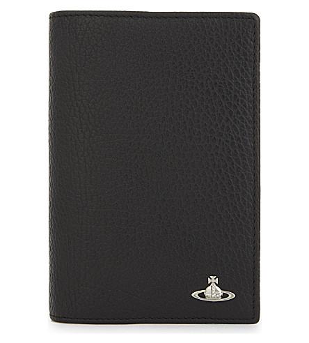 VIVIENNE WESTWOOD Milano leather passport holder (Black