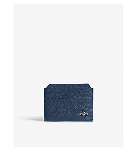 VIVIENNE WESTWOOD Milano grained leather card holder (Blue