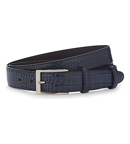 ELLIOT RHODES Caribe crocodile-effect leather belt (Navy
