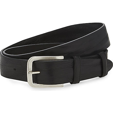 ELLIOT RHODES Textured-leather belt (Black