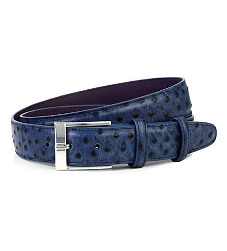 ELLIOT RHODES Struzzo wax belt (Dark+sapphire