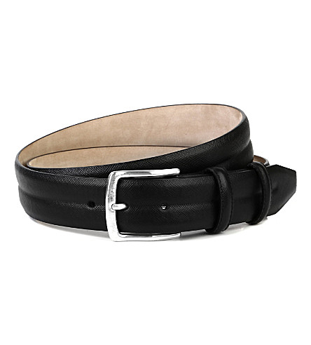 ELLIOT RHODES Peck saffiano leather belt (Black