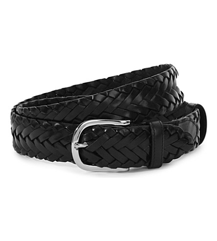 ELLIOT RHODES Leather woven belt (Black