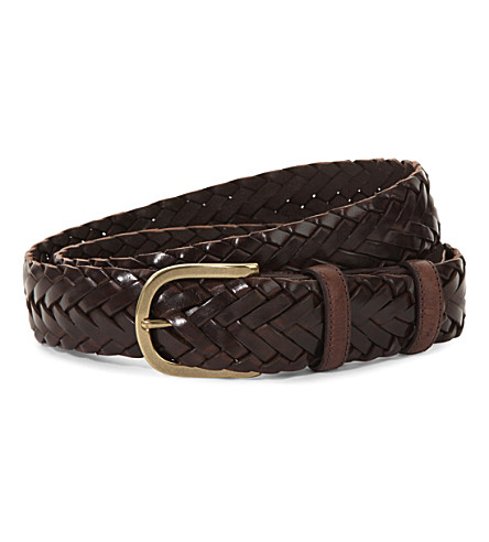 ELLIOT RHODES Leather woven belt (Brown