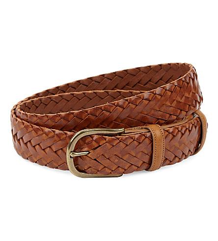 ELLIOT RHODES Hand-woven leather belt (Tan