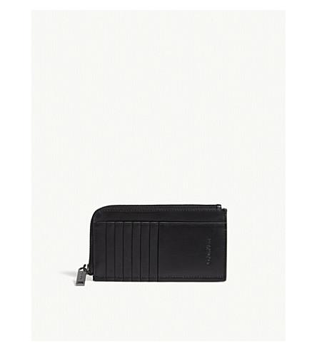 CALVIN KLEIN Prime zipped leather card holder (Black