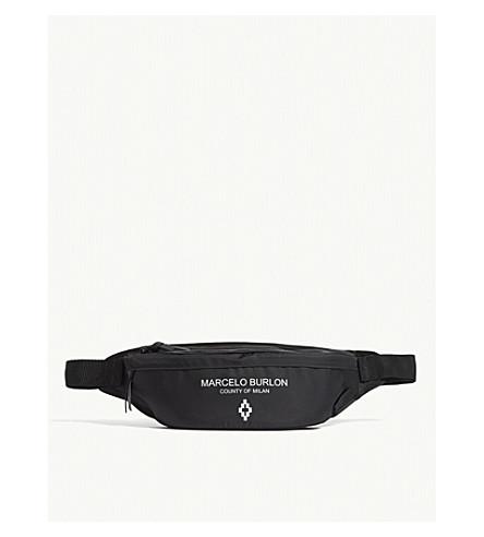 MARCELO BURLON Logo nylon bumbag (Black+white
