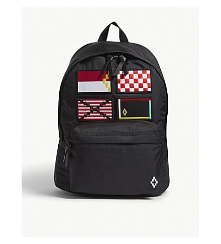 MARCELO BURLON Embroidered flags backpack (Black+multi