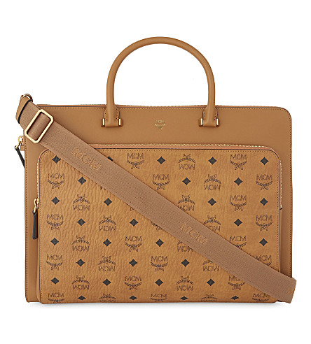 MCM Otto Visetos coated canvas large briefcase (Cognac