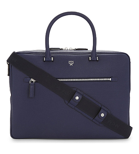 MCM Ottomar grained leather briefcase (Pistol+blue