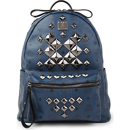 MCM Stark studded medium backpack (Navy
