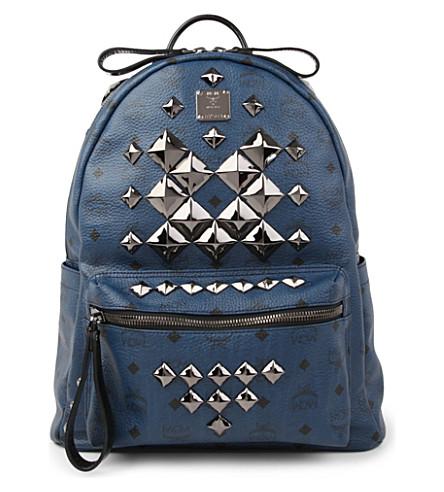 MCM Stark studded medium backpack (Navy