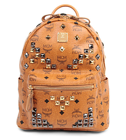 MCM Small studded stark backpack (Cognac