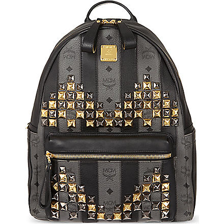 MCM Road stripe stud backpack (Grey