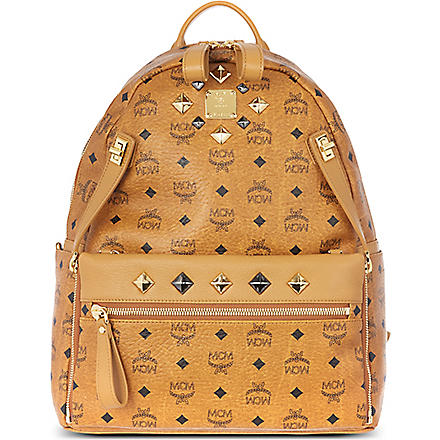 MCM Studded Stark backpack (Cognac