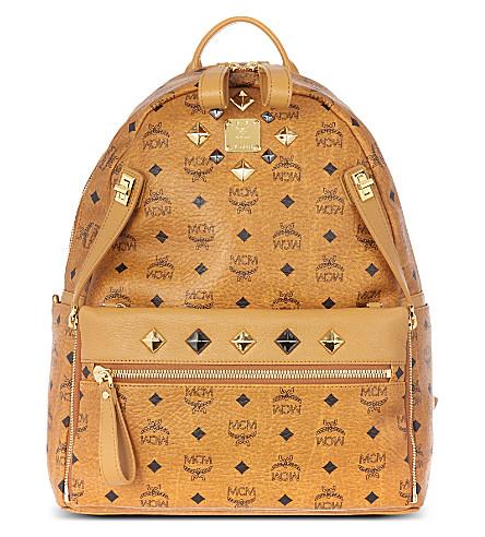 MCM Studded Stark backpack (Cognac