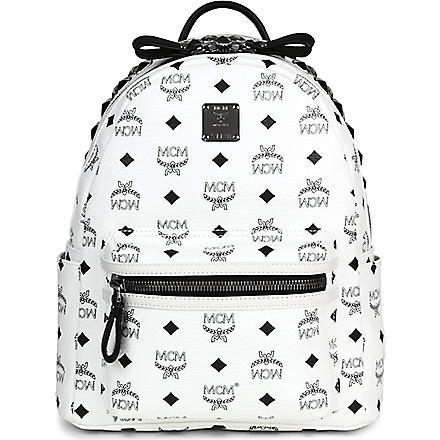 MCM Studded leather small backpack (White