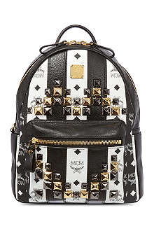 MCM Stripe & stud leather backpack