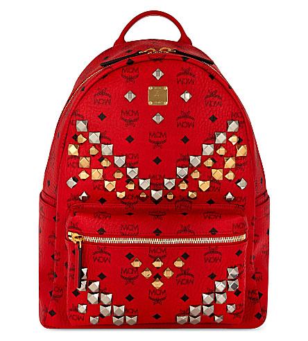 MCM Stark stud detail medium backpack (Ruby red