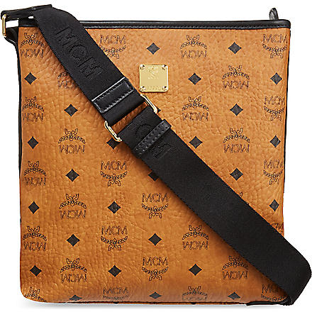 MCM Visetos small messenger bag (Cognac+black